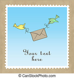 Birds delivering mail - Two birds carrying a letter,...
