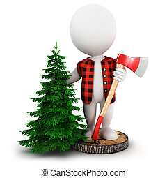 3d white people lumberjack on a tree trunk with a pine and a...