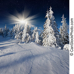 Beautiful night winter landscape in the mountains with the...