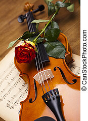 Old violin and red roses