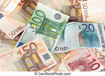 euro bills stacked creating a background