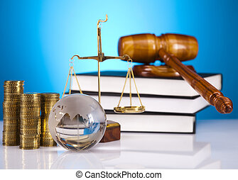 Justice Scale and Gavel, blue sky