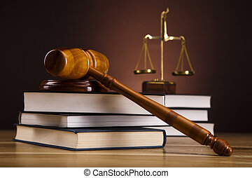 Law theme, mallet of judge, gavel - Law and justice concept...