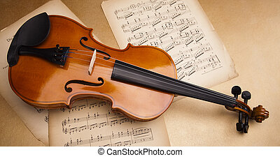 Old violin background -  