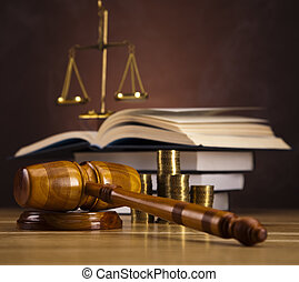Wooden gavel barrister, justice - Law and justice concept in...