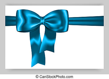 Blue gift ribbon - Gift card with blue ribbon and bow Vector...