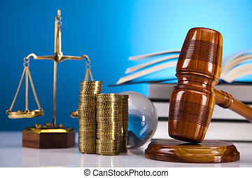 Justice Scale and Gavel on blue sky