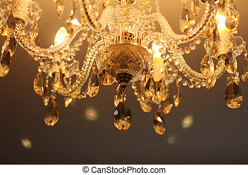 Vintage crystal lamp details, luxury