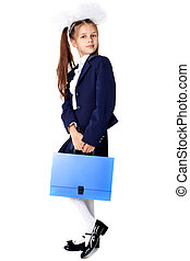 First day at school -  little girl with briefcase