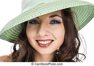 smile and green bonnet - young pretty female smiling in...