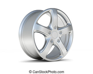 car alloy wheel, over white background