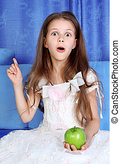 eureca - surprised girl with apple