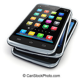 Modern touchscreen smartphones - Stack of modern black...