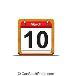 March 10. - Illustration elegant wooden calendar on white...