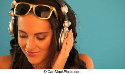 Brunette disc jockey - Beautiful female brunette disc jockey...
