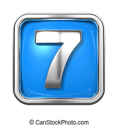 Silver Numbers in Frame, on Blue Background. - Silver...