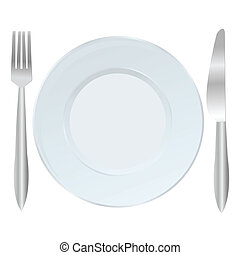 Background with plate, fork and knife