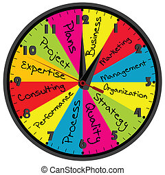 Colored business time wall clock