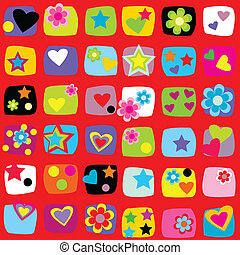 Wrapping paper design with flowers, stars and hearts