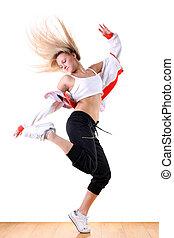 mujer, moderno, ballet, bailarín, salón de...