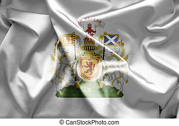 Scotland emblem - Scottish royal coat of arms with flags of...