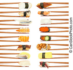 Sushi & Chopsticks - 16 different types of sushi being held...