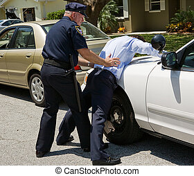 Spread Eagle on Police Car - Drunk driver spread eagle on...