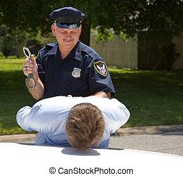 polícia, oficial, algemas