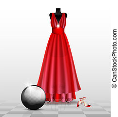 dummy in the red evening dress - in abstract room are a big...