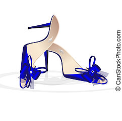 blue womans shoes - on a white background is couple of blue...