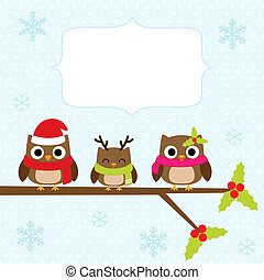 christmas card - Christmas card with family of owls.