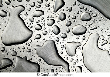 Waterdrops on metalic background