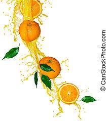 laranja, frutas, respingue, suco, sobre, branca