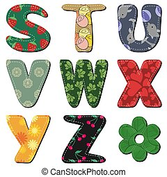 textile scrapbook alphabet on white background