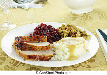 Thanksgiving Turkey Dinner - Thanksgiving turkey dinner with...
