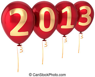 Party balloons New Year 2013 holiday decoration. Red balloon...