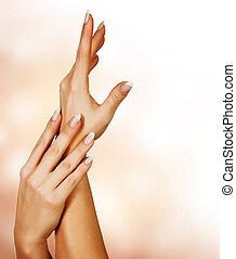 bonito, femininas, mãos, manicure, conceito