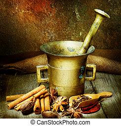 especias, y, antigüedad, mortero, con, mano de mortero