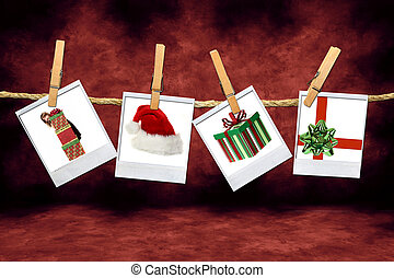 Holiday Christmas Images: Santa Hat, Gifts and Child -...