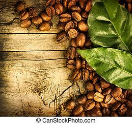 café, frijoles, encima, madera, Plano de fondo