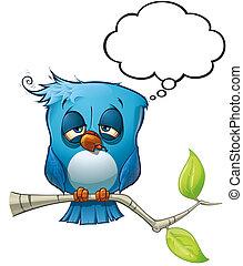 azul, pássaro, ressaca