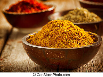 Spices Saffron, turmeric, curry