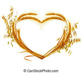 trigo, corazón, diseño, encima, blanco