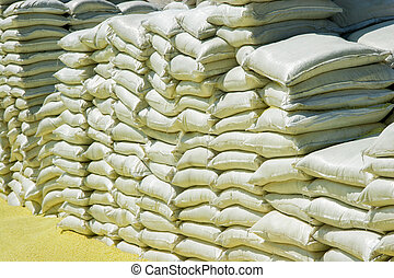 Stacks Of Chemical Sacks In Warehouse Outdoors