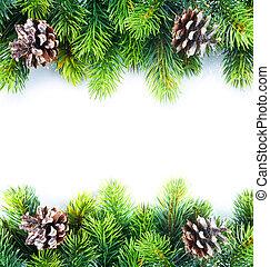 Natale, abete, albero, bordo