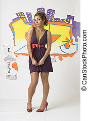 Graffiti fashion model - Portrait of a twenty something...