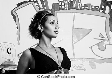Graffiti fashion model - close up protrait of a twenty...