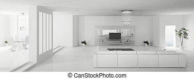White apartment panorama 3d - Interior of white modern...