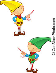 Elf Mascot - Pointing With Candy
