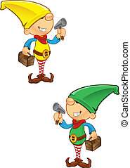 Elf Mascot - Hammer And Toolbox - A vector illustration of...